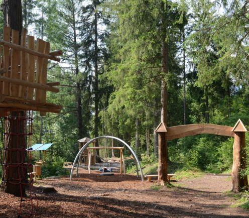 Forest playground in the Kids World Olang, South Tyrol